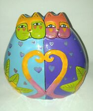 LAUREL BURCH Ceramic COLORFUL Cats In Love Coin Bank