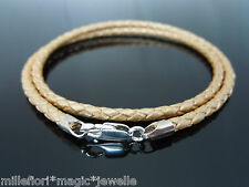 "3mm Braided Leather & Sterling Silver Necklace 16"" (41cm) ~ With Lobster Clasp"