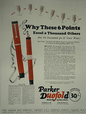 Parker Duofold Lucky Curve Fountain Pen 1925 Page Ad Advertisement 6917