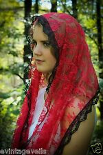 Pentecost  Red Chapel Veil Mantilla Infinity Veil Scarf Latin Mass Red Lace