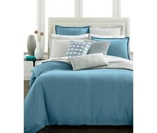 NEW Hotel Collection Linen Turquoise QUEEN Duvet Cover MSRP $285 - NICE!
