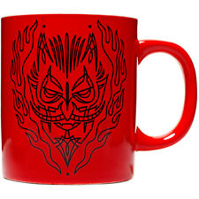 Sourpuss Pinstripe Devil Mug Red Punk Goth Horror Satan Flames