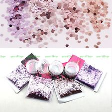 Sequin Hexagon Glitter Nail Art Tips Decoration DIY Craft Bright Purple Gradient