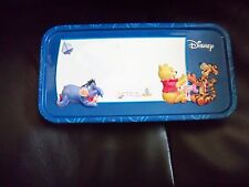 DISNEY Winnie The Pooh & Friends BLUE Pencil Tin Metal Case SCHOOL EUC