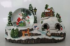 29cm Musical Christmas Decoration With Snow Globe + Moving Train + LEDs (WG1)