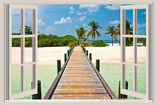 Ocean Pier Window View Repositionable Color Wall Sticker Wall Mural