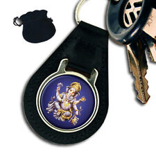 LORD GANESHA CHATURTHI HINDU LEATHER KEYRING / KEYFOB