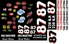 #87 Buck Baker Nalley Chevrolet 1957 1/32nd Scale Slot Car Decals
