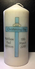 personalised baby boy christening baptism tall candle gift blue cross keepsake