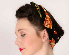 Rockabilly retro pin-up fast food pizza print head scarf, bandana, headwrap
