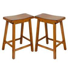 "Gaucho Set of 2 Kitchen 24""H Counter Height Bar Saddle Stools Solid Wood in Oak"