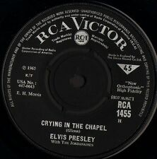"""ELVIS PRESLEY crying in the chapel/i believe in the man in the sky RCA 1455 7"""""""