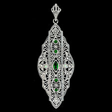 Emerald & Fire Opal 925 Solid Sterling Silver Victorian Style Filigree Pendant