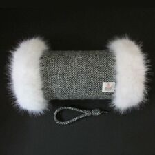 HARRIS TWEED Black Herringbone White Fur Trimmed Hand Muff Warmer Handmade in UK