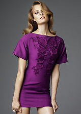 H&M CONSCIOUS EXCLUSIVE PURPLE FLORAL APPLIQUE MINI DRESS UK 8 EUR 34 US 4 BNWT