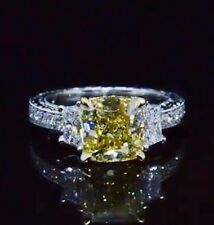 1.69 Ct. Cushion Cut Canary Fancy Yellow Diamond Vintage Engagement Ring SI1 EGL