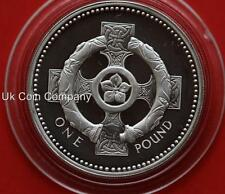 1996 UK ROYAL MINT IRISH CROSS SILVER PROOF PIEDFORT £1 ONE POUND COIN & COA