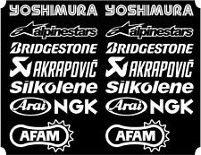 16 X White Belly Pan Fairing Sponsor Logo Decals, Stickers Colour Choice 100mm