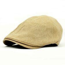 UK SELLER - New Mens Flat Caps Baker Boy Gatsby Hats Classic 6 Panel Beige