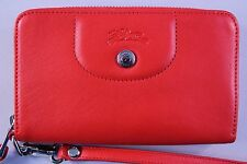 NWOT Authentic LONGCHAMP Le Pliage Cuir Zip Around Leather Wallet in Poppy $245