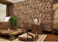 10M Vintage 3D PVC Retro Short Stakes Wood Timber Pattern Vinyl Wallpaper