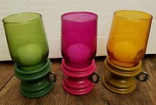 Miniature Hurricane Rubel Candle Holders Set of 3 Green Pink Yellow Glass Wood
