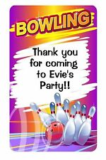 21 PERSONALISED GLOSSY BOWLING PARTY SWEET CONE STICKERS