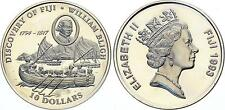 1993 Fiji Large  Silver Proof $10-Captain Bligh/Ship