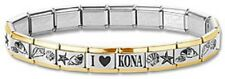 Italian Charm Bracelets Stainless Steel Gold Trim Sea Shell Modular I Heart Kona