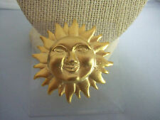 "1 3/4"" Round Brushed Goldtone Sun Pin/Brooch"