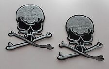 Skull and X Bones Iron/Sew on Patches x 2