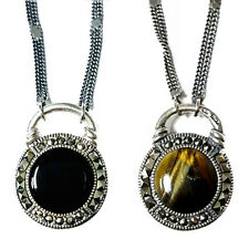 Double-Sided Stones NECKLACE Onyx & TIGERS EYE Marcasite .925 Sterling Silver