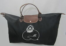 ROOTS X large black nylon & leather duffle travel tote bag made CANADA