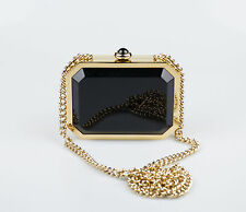 New. CHANEL Gold/Black Chanel Premiere Watch Minaudiere Bag Gold Strap $16995