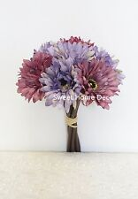 Sweet Home Deco 13'' Silk Artificial Gerbera Daisy Bouquet 7 Flowers