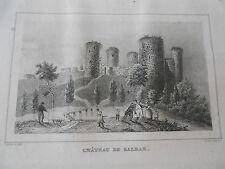 Gravure sur acier 1838 Les Deux Sèvres Château de Salbar