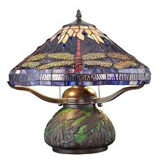 Table Lamps Lamp Tiffany Style Bedroom Den Dragonfly Stained Glass Shade Light