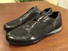 PRADA Women's Black Leather & Mesh Sneakers Trainers Shoes US Size 8 EUR Sz 38.5