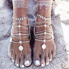 Femmes Sexy Chaîne En Argent Cheville Bracelet De Pieds Nus Sandale Bijoux Plage