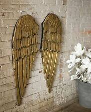 Angelic Large Wood Gold Angel Wings Wall Decor Shabby Cottage Chic