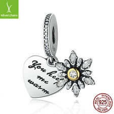 European Authentic 925 Sterling Snowflake Heart, Clear CZ Beads Dangle Charms