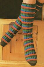 VINTAGE KNITTING PATTERN FOR WARM & COSY LONG SOCKS worked on 2 needles  DK