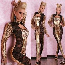 400 SEXY OVERALL CATSUIT LEATHER WET LOOK LEOPARD incl. EARS JUMPSUIT ONE SIZE