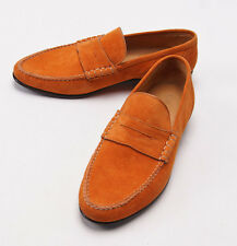 New $900 SUTOR MANTELLASSI Orange Calf Suede Penny Loafers US 7 Shoes