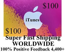 $100 US iTUNES GIFT CARD voucher certificate Apple FAST FREE worldwide shipping