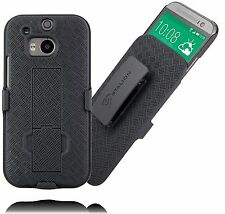 Stalion® Secure Belt Clip Holster & Shell Case Cover w Kickstand for HTC One M8