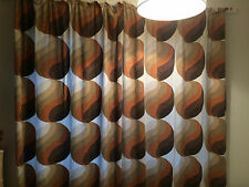 "Vintage Retro Pair Of 1970s Curtains Orange & Brown ETC 82"" DROP TOTAL WIDTH 86"""
