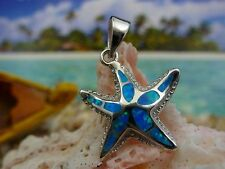 COOL!  HIGH POLISHED STERLING SILVER BLUE FIRE OPAL STARFISH PENDANT