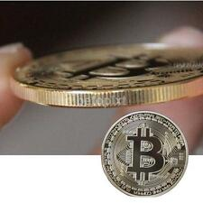 Gold Plated Bitcoin Coin collectible gift Physical BTC Coin Art Collection new