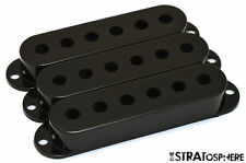 *NEW Black Stratocaster PICKUP COVER SET Covers Fender Strat Guitar Single Coil